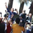 """Sylvester Stallone, Mel Gibson, Harrison Ford, Dolph Lundgren - Les acteurs du film """"Expendables 3"""" arrivent à bord d'un char militaire devant l'hôtel Carlton pour le photocall du film dans le cadre du 67ème festival du film de Cannes, le 18 mai 2014."""