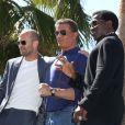 """Jason Statham, Sylvester Stalone, Wesley Snipes - Les acteurs du film """"Expendables 3"""" arrivent à bord d'un char militaire devant l'hôtel Carlton pour le photocall du film dans le cadre du 67ème festival du film de Cannes, le 18 mai 2014."""