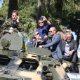 """Sylvester Stalone, Mel Gibson, Jason Statham, Harrison Ford - Les acteurs du film """"Expendables 3"""" arrivent à bord d'un char militaire devant l'hôtel Carlton pour le photocall du film dans le cadre du 67ème festival du film de Cannes, le 18 mai 2014.  Cast members of """"Expendables 3"""" arrive in a military tank in front of the Carlton hotel for the movie's photocall during the 67th Cannes film festival, in Cannes, France, on May 18th 2014.18/05/2014 - Cannes"""