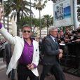 """Sylvester Stallone et Harrison Ford - Présentation du film """"Expendables 3"""" sur le plateau du Grand Journal de Canal + à l'occasion du 67e festival international du film de Cannes, le 17 mai 2014"""