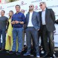 """Arnold Schwarzenegger, Ronda Rousey, Sylvester Stallone, Jason Statham, Harrison Ford - Les acteurs du film """"Expendables 3"""" au photocall du film devant le Carlton dans le cadre du 67e festival du film de Cannes, le 18 mai 2014."""
