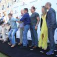 """Dolph Lundgren, Kellan Lutz, Glen Powell, Antonio Banderas, Kelsey Grammer, Sylvester Stallone, Arnold Schwarzenegger, Ronda Rousey, Harrison Ford - Les acteurs du film """"Expendables 3"""" au photocall du film devant le Carlton dans le cadre du 67e festival du film de Cannes, le 18 mai 2014."""