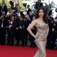 """Aishwarya Rai - Montée des marches du film """"Deux jours, une nuit"""" lors du 67e Festival du film de Cannes, le 20 mai 2014."""