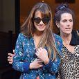 Lea Michele, très souriante, à la sortie de son hôtel à New York, le 20 mai 2014.