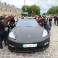 Kim Kardashian et Kanye West arrivent au château de Versailles pour leur dîner pré-mariage et une visite privée. Le 23 mai 2014.