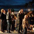 John Travolta, Uma Thurman, Quentin Tarantino, Thierry Frémaux lors de la projection de Pulp Fiction au Cinéma de la plage durant le Festival de Cannes, 20 ans après sa Palme d'or, le 23 ami 2014