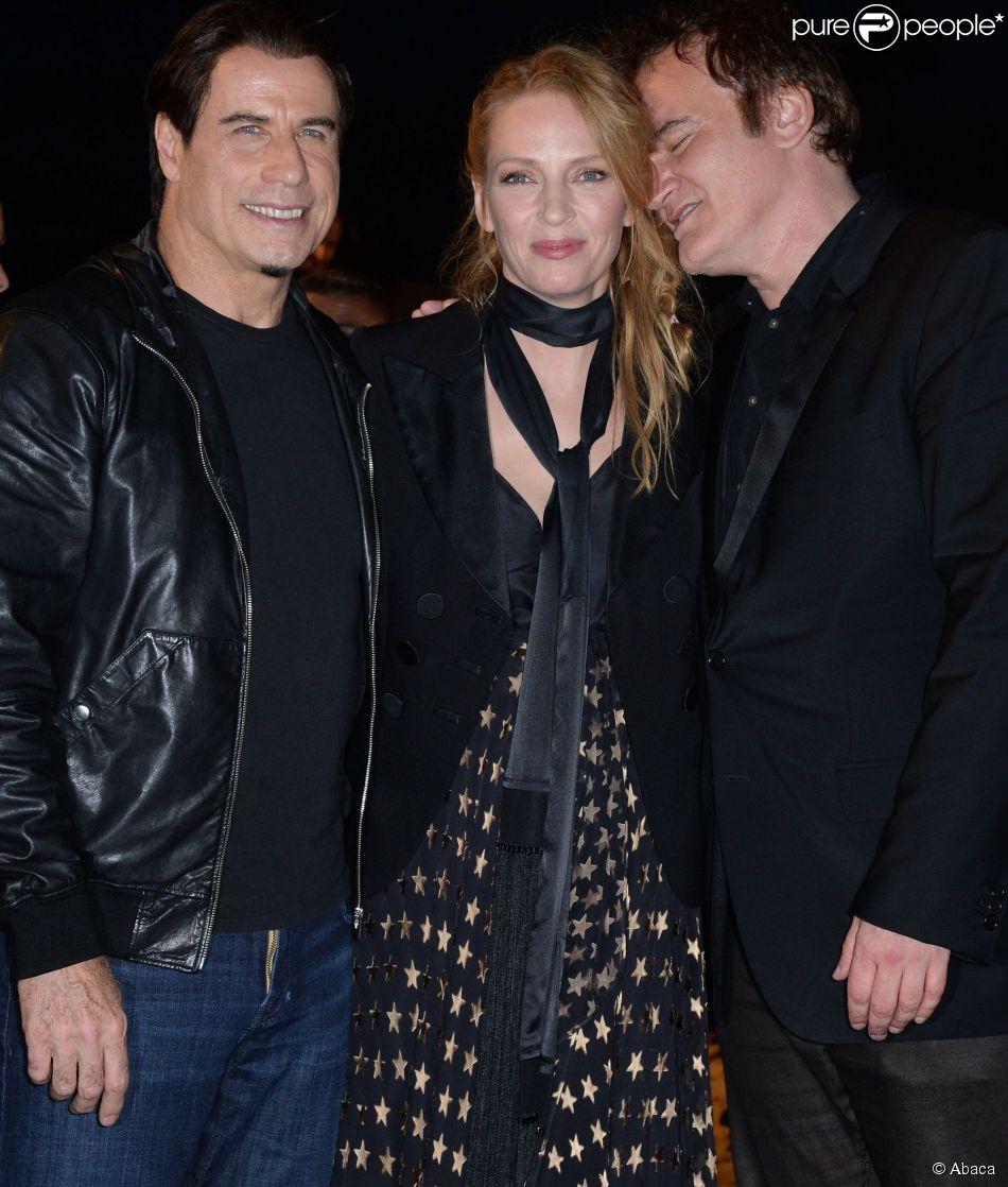 John Travolta, Uma Thurman, Quentin Tarantino lors de la projection de Pulp Fiction au Cinéma de la plage durant le Festival de Cannes, 20 ans après sa Palme d'or, le 23 ami 2014