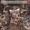 """"""" Vue aérienne du Fort Belvedere où a lieu le mariage de Kim Kardashian et Kanye West. Florence, le 24 mai 2014. """""""
