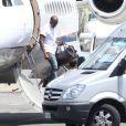 Kanye West - Kanye West arrive en jet privé à Florence en Italie pour poursuivre les festivités de son mariage avec Kim Kardashian le 24 mai 2014.