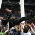 Carlo Ancelotti lors de la finale de la Ligue des champions au Stade de la Luz à Lisbonne, le 24 mai 2014 entre le Real Madrid et l'Atlético Madrid (4-1)