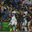 Les joueurs du Real Madrid lors de la finale de la Ligue des champions au Stade de la Luz à Lisbonne, le 24 mai 2014 face à l'Atlético Madrid (4-1)