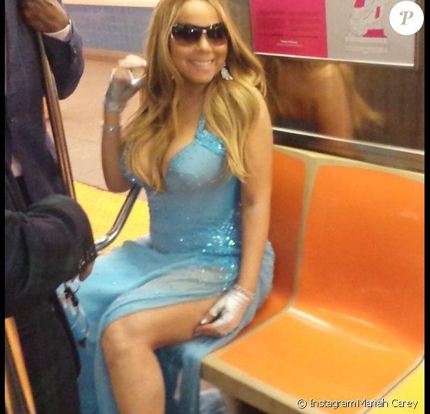 Mariah Carey dans le métro de New York, vendredi 30 mai 2014.