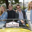 Natalia Sklenarikova, François Levantal, Frédéric Diefenthal, et Adriana Karembeu - 15e Rallye des Princesses à Paris - Journée des vérifications des voitures, Esplanade des Invalides. Paris, le 31 mai 2014