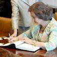 La reine Sofia d'Espagne au siège des Nations unies à New York le 3 juin 2014
