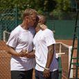 Arnaud Lemaire et Sylvain Wiltord à Roland-Garros pour participer au Trophée des personnalités, le vendredi 6 juin 2014.