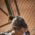 Estelle Denis à Roland-Garros pour participer au Trophée des personnalités, le vendredi 6 juin 2014.