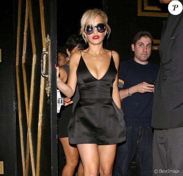 Rita Ora, craquante en petite robe noire Christian Dior, s'est rendue au Bootsy Bellows à West Hollywood, le 6 juin 2014.
