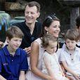Le prince Joachim avec sa femme la princesse Marie et ses enfants. La famille royale de Danemark s'est réunie au château de Cayx (Lot), en France, le 11 juin 2014 autour du prince Henrik pour fêter ses 80 ans.