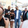 Tony Parker et sa fiancée Axelle Francine se promènent main dans la main à Saint-Tropez. Le 1er juillet 2014.