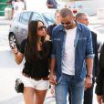 Tony Parker et sa fiancée Axelle Francine se baladent à Saint-Tropez. Le 1er juillet 2014.