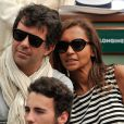 Karine Le Marchand et Stéphane Plaza - People aux Internationaux de France de tennis de Roland-Garros à Paris, le 29 mai 2014.