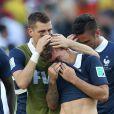 Morgan Schneiderlin et Antoine Griezmann - Tristesse de l'équipe de France suite à leur élimination du Mondial à Rio de Janeiro au Brésil le 4 juillet 2014. L'équipe de France quitte la compétition en quart de finale suite à leur défaite face à l'Allemagne 1 à 0 .