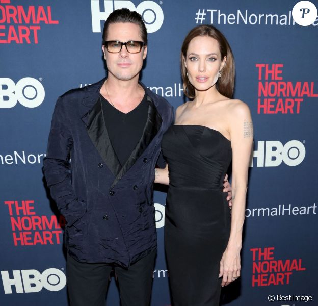 Brad Pitt et Angelina Jolie à la première du film ''The Normal Heart'' à New York, le 12 mai 2014.