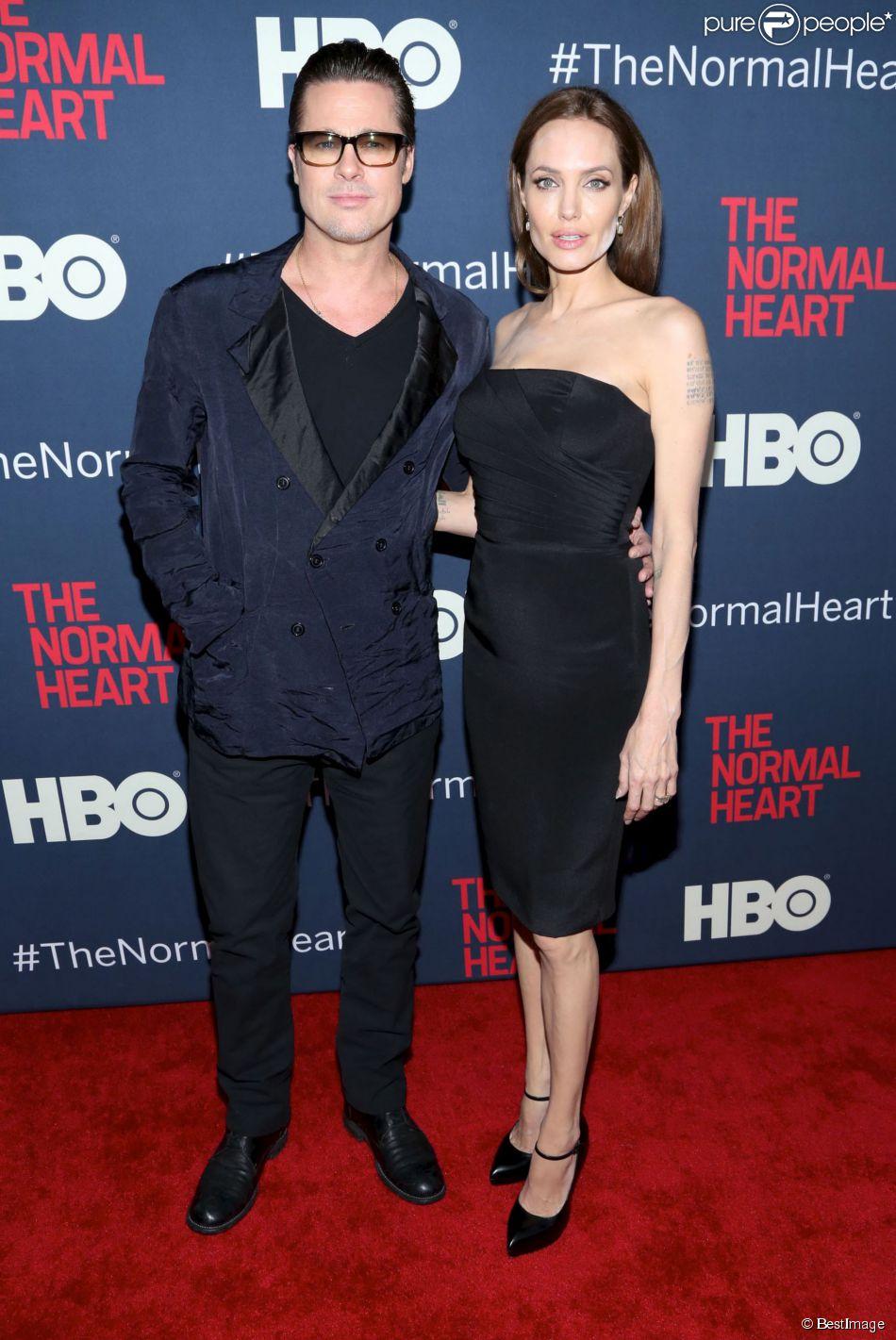 Brad Pitt et Angelina Jolie à la première du film ''The Normal Heart'' à New York, le 12 mai 2014.