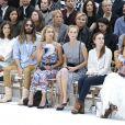 Isabelle Huppert, Alma Jodorowsky, Jared Leto, Alice Dellal, Poppy Delevingne et Anna Dello Russo au premier rang du défilé Chanel haute couture, au Grand Palais. Paris, le 8 juillet 2014.