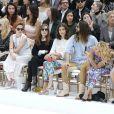 Kristen Stewart, Isabelle Huppert, Alma Jodorowsky, Jared Leto, Alice Dellal et Poppy Delevingne au premier rang du défilé Chanel haute couture, au Grand Palais. Paris, le 8 juillet 2014.