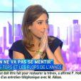 """La journaliste Léa Salamé fait ses adieux à ses chroniqueurs et aux téléspectateurs de """"On ne va pas se mentir"""" sur i-Télé. Jeudi 10 juillet 2014."""