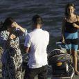 Exclusif - L'acteur David Arquette demande en mariage sa compagne Christina McLarty à Malibu le 2 juillet 2014, en présence de fille Coco et de son jeune fils Charlie.