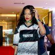 Rihanna en route vers le Maracanã de Rio pour assister à la finale de la Coupe du monde entre l'Allemagne et l'Argentine, le 13 juillet 2014