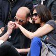 Helena Noguerra et son compagnon Fabrice De Welz assistent au tournoi de tennis de Roland-Garros à Paris, le 2 juin 2014.