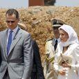 Felipe VI et la reine Letizia d'Espagne se rendent au mausolée du roi Mohammed V à Rabat, le 15 juillet 2014. Le couple royal va se recueillir sur la tombe de l'ancien roi.