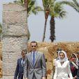 Le roi Felipe VI et la reine Letizia d'Espagne se rendent au mausolée du roi Mohammed V à Rabat, le 15 juillet 2014. Le couple royal va se recueillir sur la tombe de l'ancien roi.