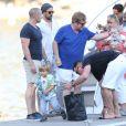 Exclusif - Elton John, David Furnish et leurs deux fils, Elijah et Zachary, à Nice après une journée à Saint-Tropez, le 22 août 2013.