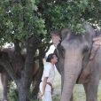 Exclusif - La princesse Stéphanie de Monaco fête le 1er anniversaire de l'arrivée des éléphantes Baby et Népal au domaine de Fontbonne sur la commune de Peille, le 12 juillet 2014.