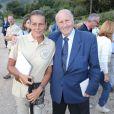 Exclusif - La princesse Stéphanie de Monaco fête le 1er anniversaire de l'arrivée des éléphantes Baby et Népal au domaine de Fontbonne sur la commune de Peille, le 12 juillet 2014. Elle pose ici avec le docteur Alain Frère, créateur avec le prince Rainier III de Monaco du festival international du cirque de Monaco.