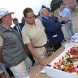 Exclusif - La princesse Stéphanie de Monaco fête le 1er anniversaire de l'arrivée des éléphantes Baby et Népal au domaine de Fontbonne sur la commune de Peille, le 12 juillet 2014. Ici avec le soigneur Marcel Peters.