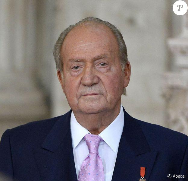 Le roi Juan Carlos lors de la cérémonie officielle d'abdication au palais royal de Madrid, le 18 juin 2014