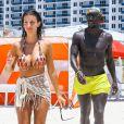 Bacary Sagna et sa femme Ludivine à Miami, le 19 juillet 2014