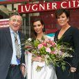 Richard Lugner, Kim Kardashian et Kris Jenner au centre commercial Lugner City. Vienne, le 27 février 2014.