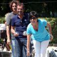 Richard Orlinski, Bernard Montiel, Liane Foly - 7e édition du Star West Pétanque au parc Mauresque à Arcachon le 3 août 2014.