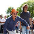 Charles Berling et Richard Orlinski - 7e édition du Star West Pétanque au parc Mauresque à Arcachon le 3 août 2014.