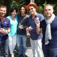 Bernard Montiel, Liane Foly, Richard Orlinski, Charles Berling et Philippe Bas - 7e édition du Star West Pétanque au parc Mauresque à Arcachon le 3 août 2014.