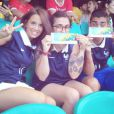 Erika Choperena, compagne d'Antoine Griezmann, en supportrice avec la famille du footballeur français le 20 juin 2014 lors de la Coupe du monde au Brésil