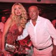 Valeria Marini et Fawaz Gruosi fêtent les 62 ans de Fawaz Gruosi au Billionaire. Porto Cervo, le 8 août 2014.