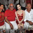 Flavio Briatore, Elisabetta Gregoraci et Dita von Teese fêtent les 62 ans de Fawaz Gruosi au Billionaire. Porto Cervo, le 8 août 2014.