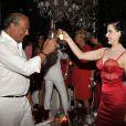 Dita von Teese et Fawaz Gruosi célèbrent les 62 ans du fondateur de de Grisogono au Billionaire. Porto Cervo, le 8 août 2014.